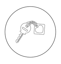 key icon in outline style isolated on white vector image