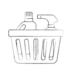 Laundry basket bottles spray and shampoo plastic vector