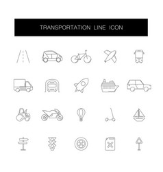 line icons set transportation pack vector image