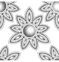 mandala with moon vecor dorwork tattoo symbol vector image