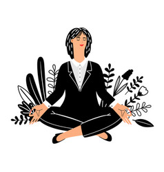 meditation concept with businesswoman vector image