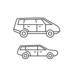 minivan thin line icon concept minivan linear vector image