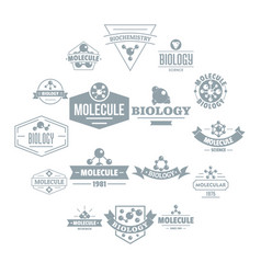 molecule logo icons set simple style vector image
