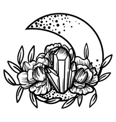 Moon crystal with peony flowers beautiful vector