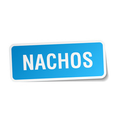 Nachos blue square sticker isolated on white vector