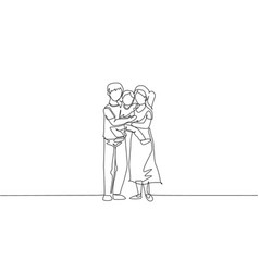 one continuous line drawing young happy mother vector image