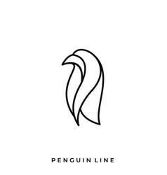 penguin line art template vector image
