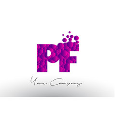 Pf p f dots letter logo with purple bubbles vector
