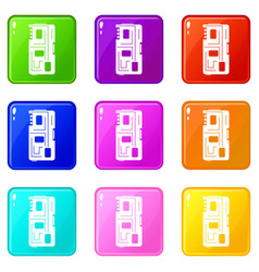 Phone chip icons 9 set vector