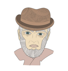 portrait of a mature person zen tangle aged man vector image