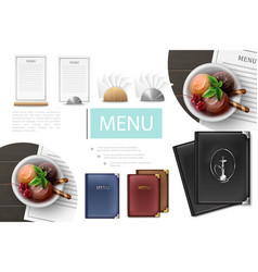 realistic cafe menu composition vector image