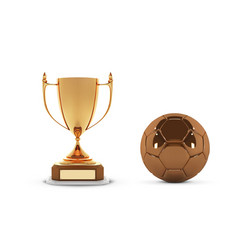 realistic golden trophy cup with gold ball winner vector image