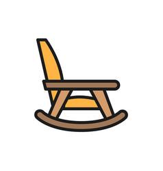 Rocking chair nursing home furniture flat color vector