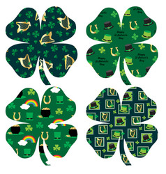 saint patricks day patterned shamrocks vector image