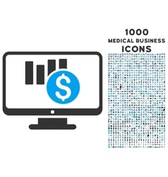 Sales Chart Monitoring Icon with 1000 Medical vector