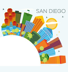 san diego california city skyline with color vector image