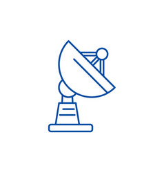 satellite dish line icon concept satellite dish vector image