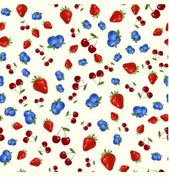 seamless pattern with strawberry blueberry and vector image
