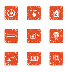 Search of money icons set grunge style vector