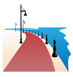 Seaside boardwalk vector