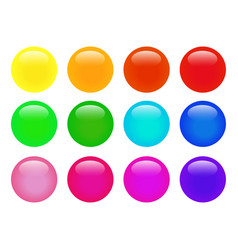 set of colorful isolated glossy web buttons vector image
