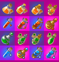Set of magic potions in glass flasks isolated on vector