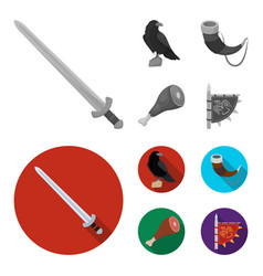 Sitting crow horn with drink ham victory flag vector