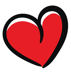 Sketch a curvy red heart with a black outline vector