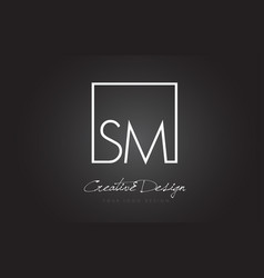 Sm square frame letter logo design with black and vector