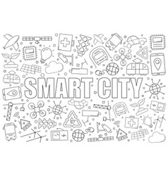 smart city background from line icon vector image