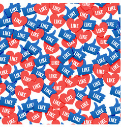 social network marketing like and heart icon vector image