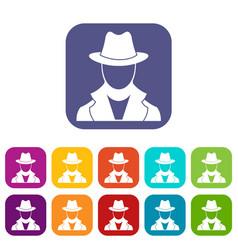 Spy icons set vector