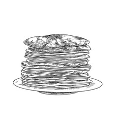 stack pancakes on plate ink sketch vector image