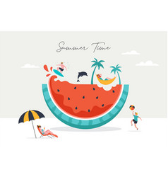summer scene group people having fun around a vector image