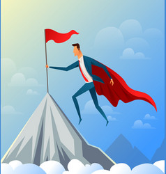 super businessman flying on top of the mountain vector image