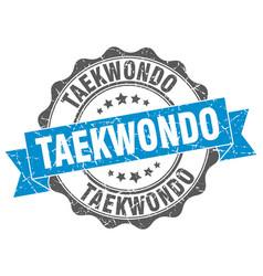 taekwondo stamp sign seal vector image