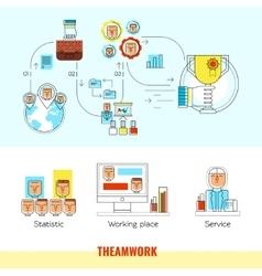 Teamwork Line Banner Set vector image