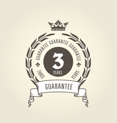three years warranty seal - chic guarantee emblem vector image
