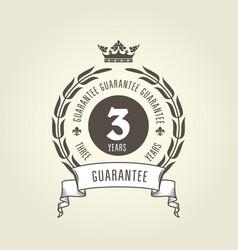 three years warranty seal - chic guarantee emblem vector image