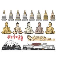 Tibet buddhism stupas buddha poses vector
