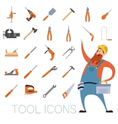 Tool icons set with a worker vector image