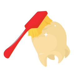 Toothbrush cleans tooth icon cartoon style vector