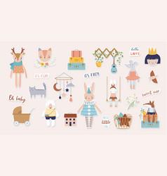 Trendy baand children stickers vector
