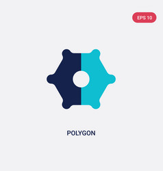 two color polygon icon from geometric figure vector image