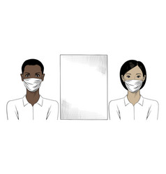 two girls with surgical masks vector image