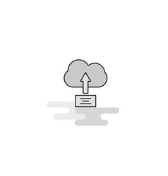 uploading on cloud web icon flat line filled gray vector image