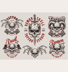 vintage demon tattoo studio prints set vector image
