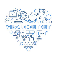 Viral content blue concept outline heart vector