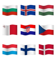 Waving flags of different countries 6 vector image