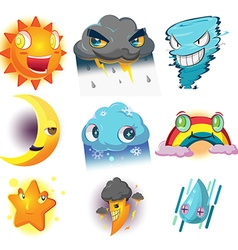 Weather Character Cartoon Emotion Set vector image